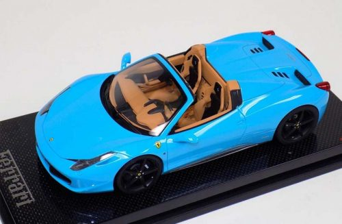 MR Collection 1:18 Ferrari 458 Spider Baby Blue Black Wheels