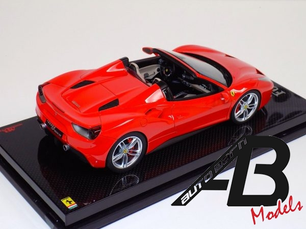 Ferrari 488 Spider Rosso Red Dino on Carbon Base-b