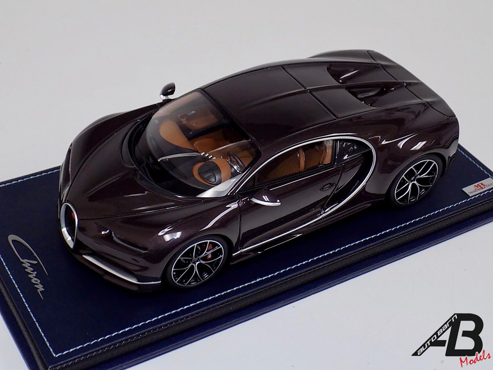 1:18 MR Collection Bugatti Chiron Brown Carbon Fiber Body on Leather