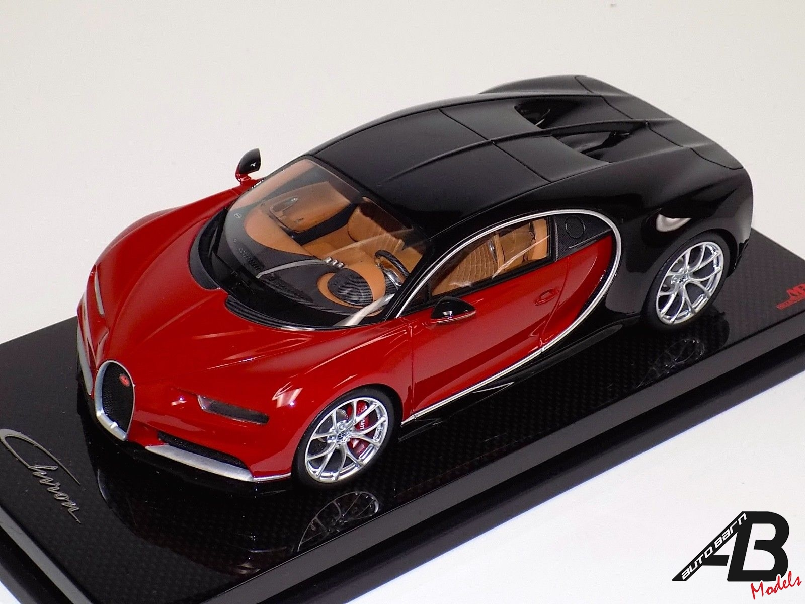 1:18 MR Collection Bugatti Chiron Brown Red and Black on Carbon