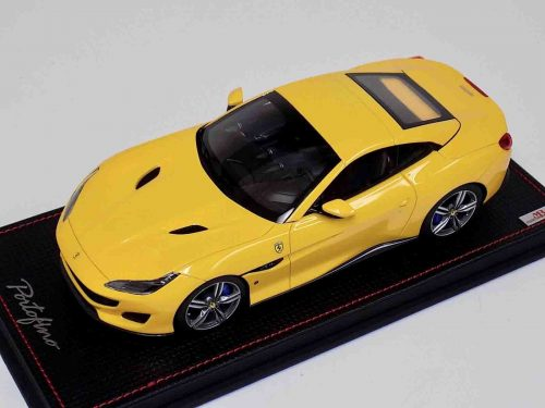 Ferrari Portofino Yellow Hard Top Leather Base | MR Collection | 1:18