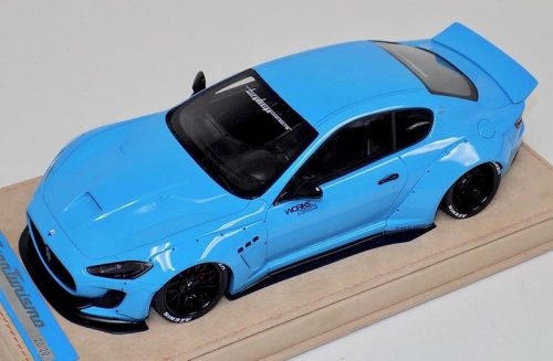 AB Models 1:18 Maserati Granturismo Liberty Walk Baby Blue Black wheels with Showcase