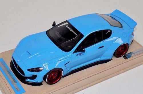 AB Models 1:18 Maserati Granturismo Liberty Walk Baby Blue Red wheels with Showcase