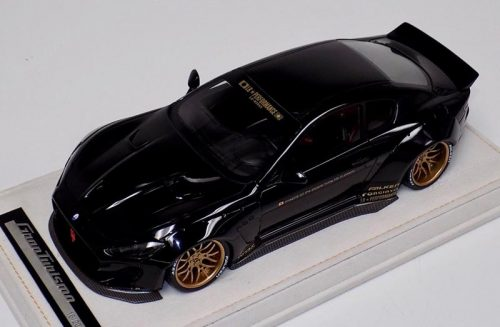 AB Models 1:18 Maserati Granturismo Liberty Walk Gloss Black Gold wheels with Showcase